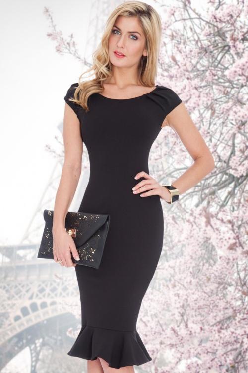 Beste 50s Jade Midi Dress in Black DZ-43