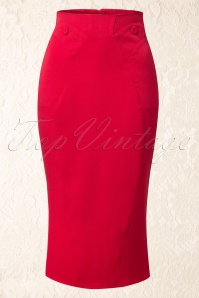 50s Agnes Rose Grand Pencil Skirt in Red