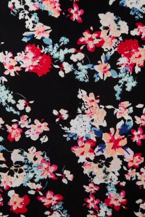 red black floral 50s felicity floral dress in black