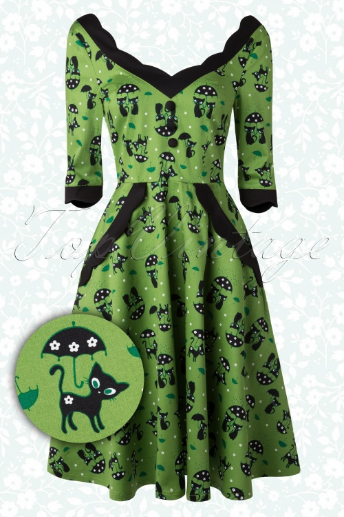 Vixen 50s Jace Black Cat Swing Dress Jade Green 102 49 15536 20150330 0008W2