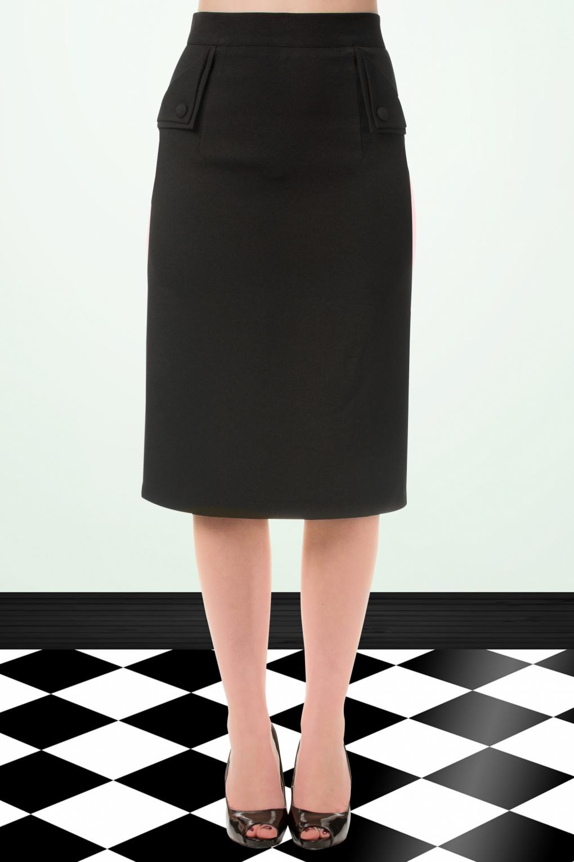 50s Tori Pencil Skirt in Black