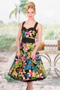 50s Everlong Tropical Floral Halter Dress in Black