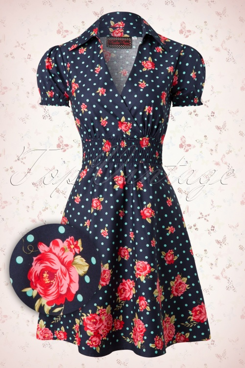 Vixen  Blue A line Polkadot Roses Dress 105 39 15242 20150331 0001W2