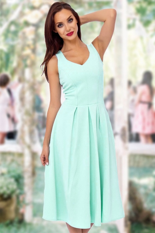 Vintage Chic Full Skirt Midi Mint Green Dress 14914 1