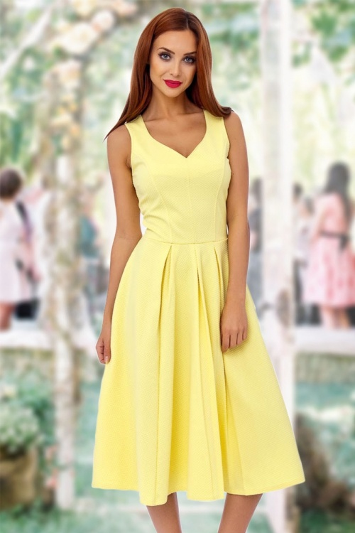 50s Sophie Fit And Flare Dress In Lemon