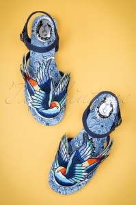 50s Bluebird Sandals with Embroidery