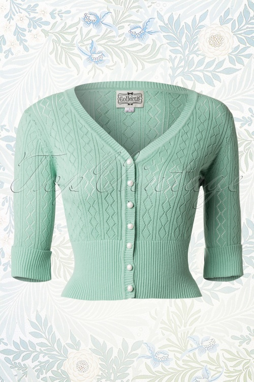 Collectif Clothing Linda Knitted Cardigan Mint Green 14782 20150112 0005W