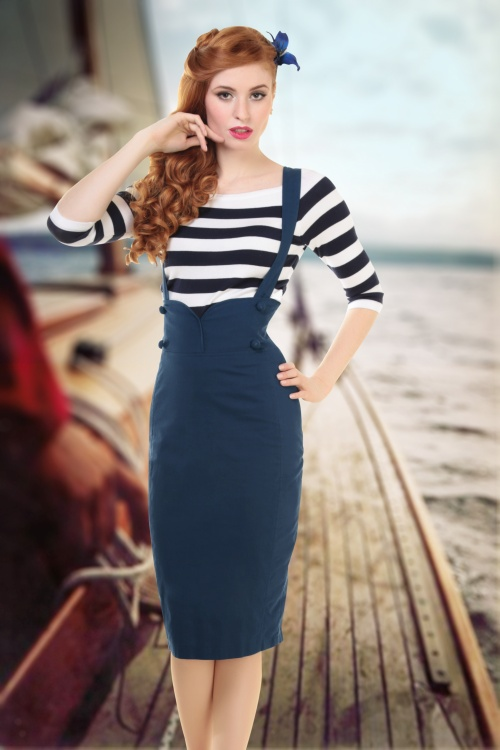 Collectif Clothing Argava Linen Skirt Blue  14792 1
