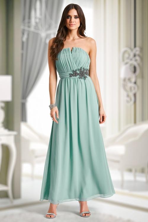30s Sage Floral Embellished Bandeau Maxi Dress in Mint