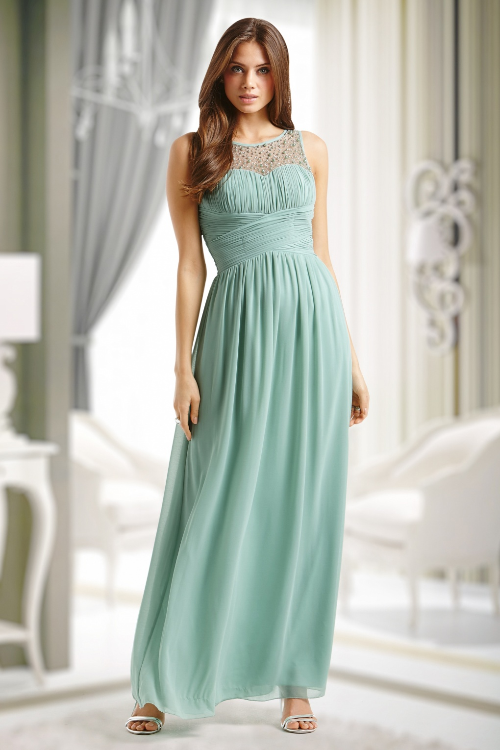 50s Cinderella Embellished Detail Maxi Dress in Mint