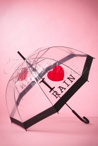 50s I love Rain Transparent Dome Umbrella