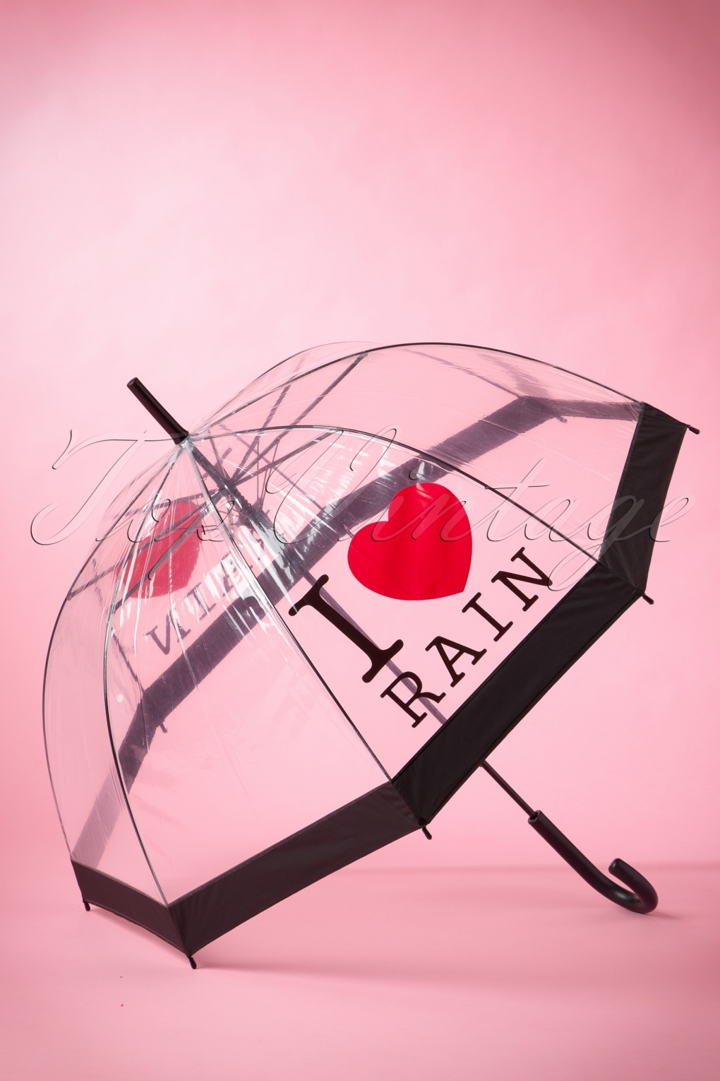 Vintage Style Parasols and Umbrellas 50s I love Rain Transparent Dome Umbrella £15.79 AT vintagedancer.com