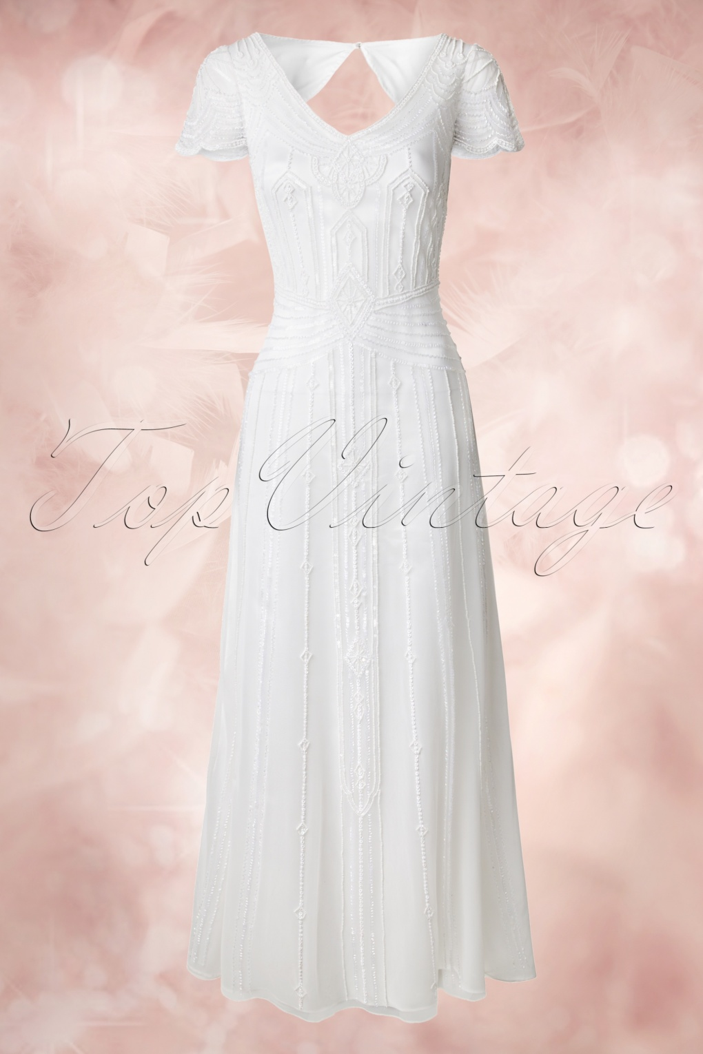 Vintage Inspired Wedding Dresses 20s Phoebe Embellished Maxi Dress in White £234.34 AT vintagedancer.com
