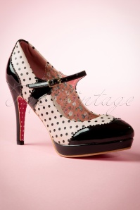 50s Mary Jane Pumps in Black and Nude