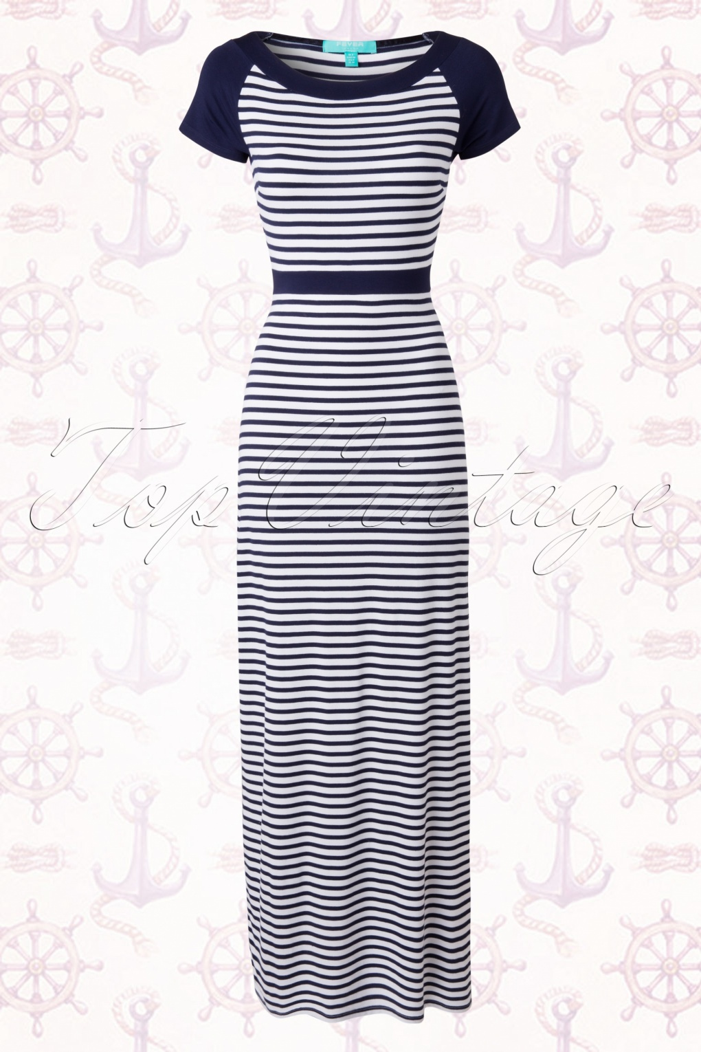 Blauw Wit Gestreepte Maxi Jurk.50s Brighton Striped Maxi Dress In Navy And White