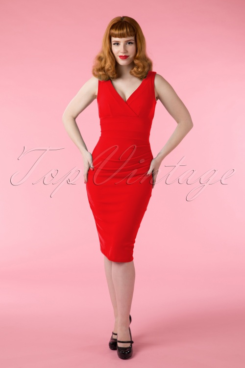 wholesale sales cheap for discount order 50s Gathered Banbury Dress in True Red