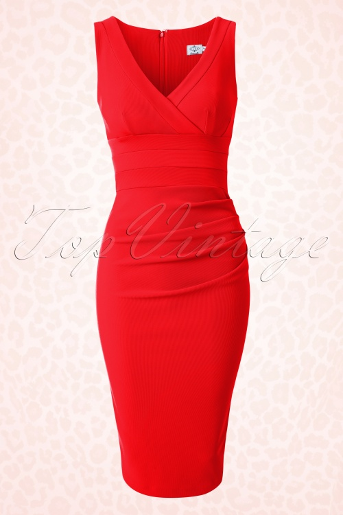 50s Gathered Banbury Dress in True Red