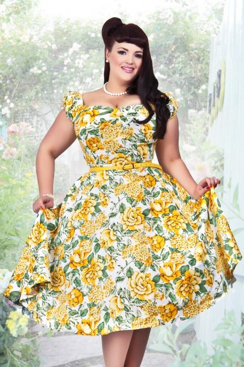 50s Dolores Doll Summer Bouquet Print Dress