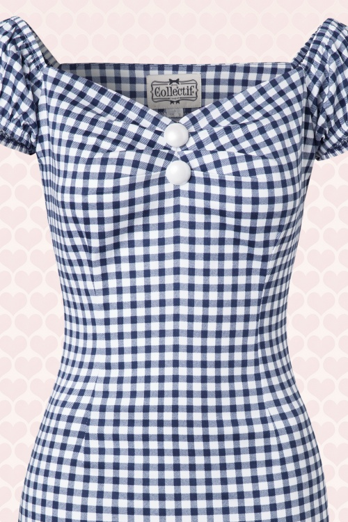 50s Dolores Gingham Dress Navy and White