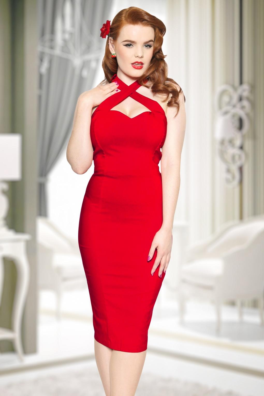 rode pencil jurk