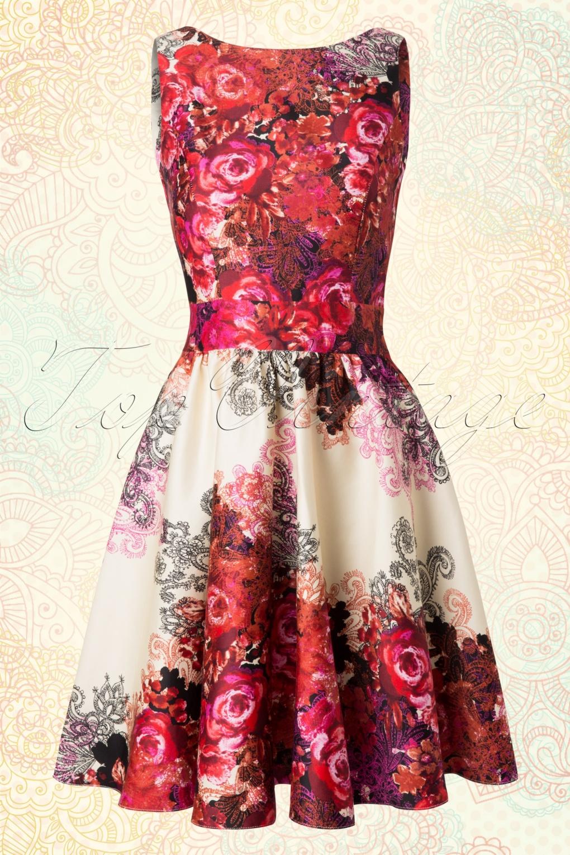 50s Red Rose Floral Tea Dress in Cream