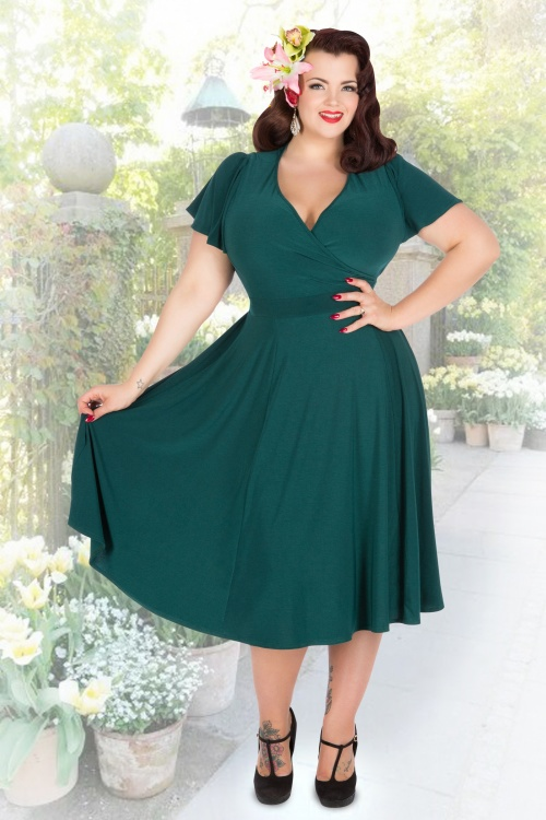 50s Lyra Dress in Forest Green