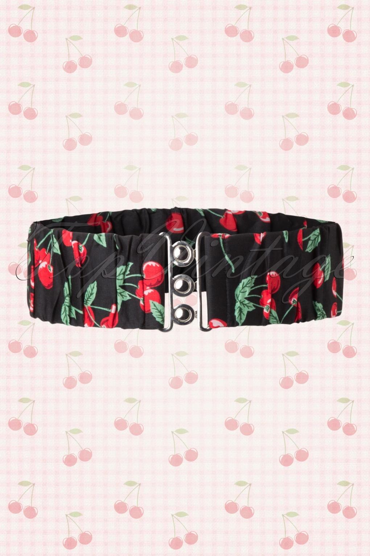 Vintage Retro Belts 50s Retro Cherry Belt in Black £7.77 AT vintagedancer.com