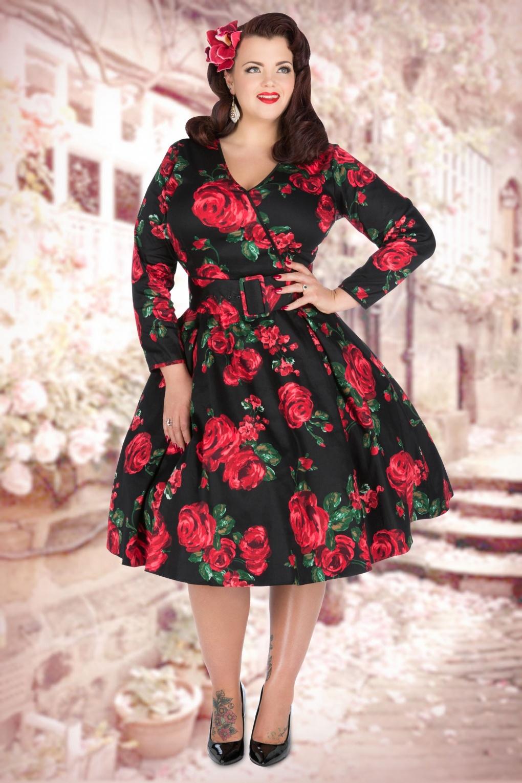 50s Cosette Red Rose Dress in Black