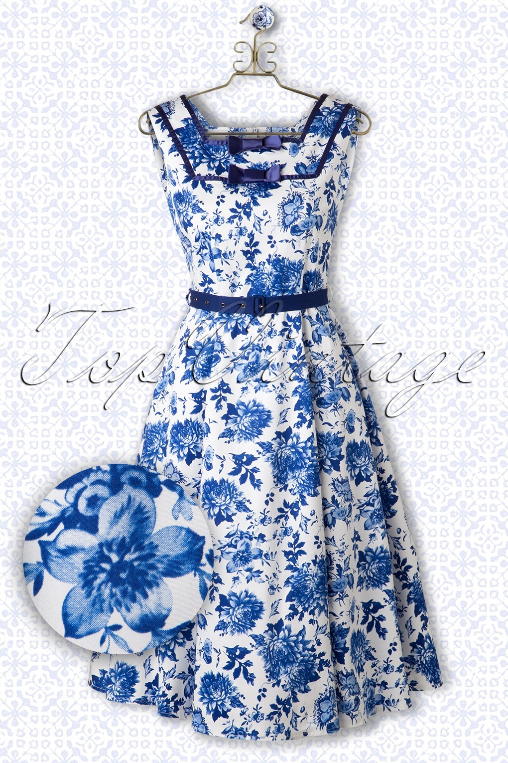 50s floral swing dress in blue and white izmirmasajfo