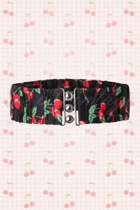 50s Curvy Retro Cherry Belt in Black