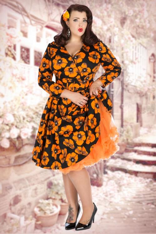 50s Poppy Print Cosette Dress in Black