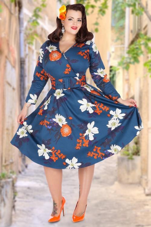 7aaf5fc2b24fe Lady Voluptuous Japanse Blue Floral Dress 15483 1