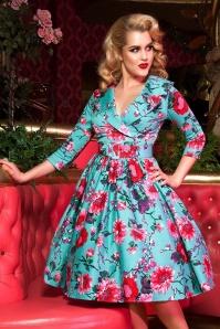 Birdie Floral Dress Années 50 en Turquoise et Rose