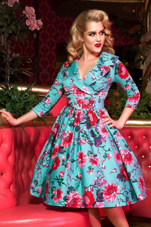 50s Birdie Floral Dress In Turquoise And Pink
