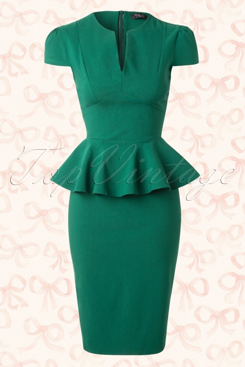 Vintage Chic Emerald Green Deep V Dress 100 40 14563 20150127 0008AW