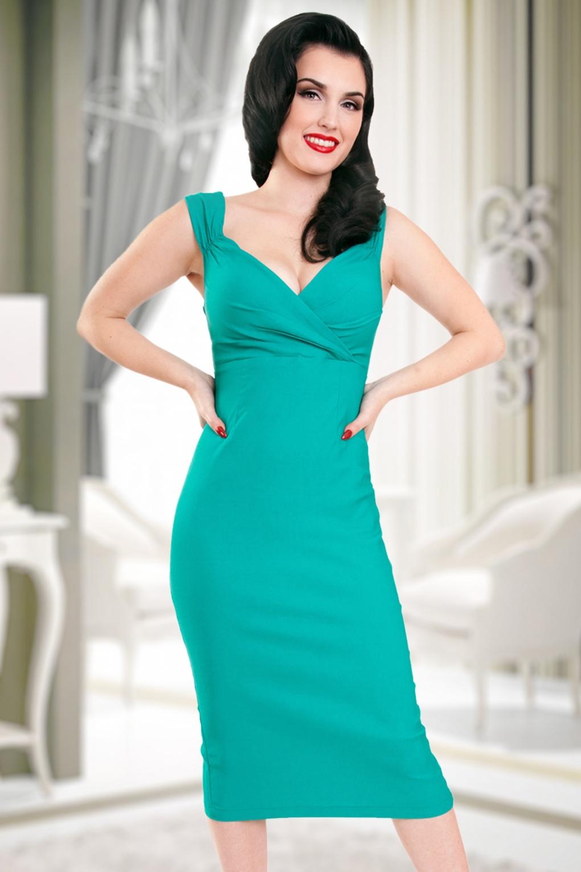 50s diva pencil dress in sea green for Diva attire