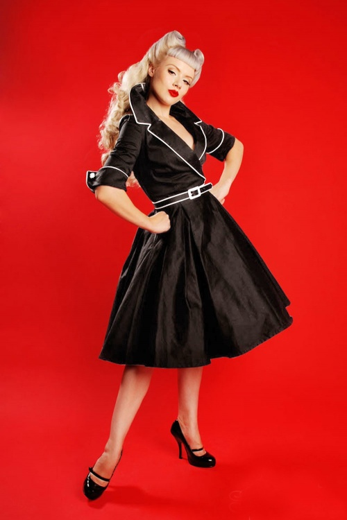 50s Deadly Dames Haunted Housewife Swing Dress In Black