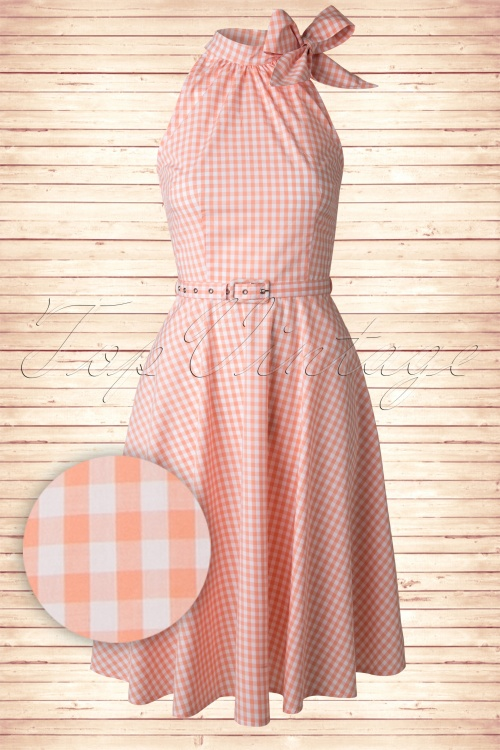 50s Chelsea Gingham Swing Dress in Peach