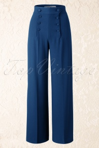 40s Nelly Bly Sailor Trousers in Navy