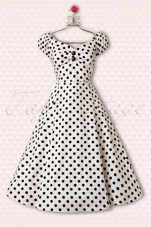 Collectif Clothing Dolores White Polkadot Swing Dress 10245 1Haakje