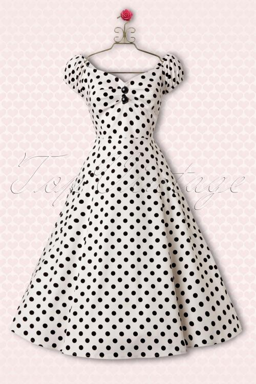 Collectif Clothing Dolores White Polkadot Swing Dress 10245 1Haakje