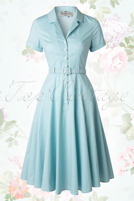 40s caterina mini polkadot swing dress in light blue. Black Bedroom Furniture Sets. Home Design Ideas