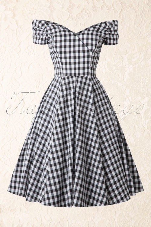 f0a8d433dc5d3a The Pretty Dress Company Fatale Gingham Black and White Petticoat Swing  Dress 102 14 15356 20150404
