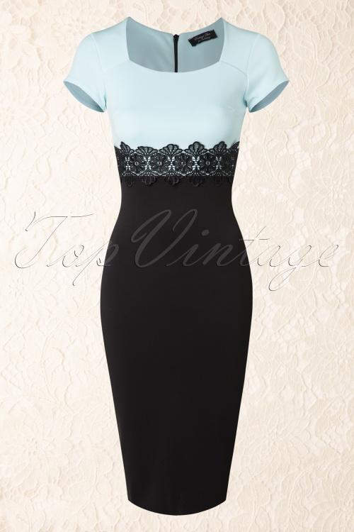 Vintage Chic Cap Sleeve Scarlet Lace Dress Blue 100 30 15570 04082015 04a