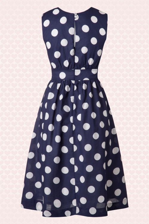 50s Lucy Long Polkadot Dress in Navy