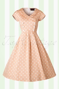 50s Josephine Polka Dot Swing Dress in Peach