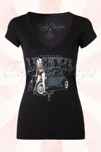 50s Pin Up Queen T-Shirt in Black