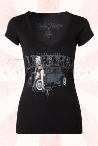 Pin-Up Queen T-T-shirt Années 1950 en Noir