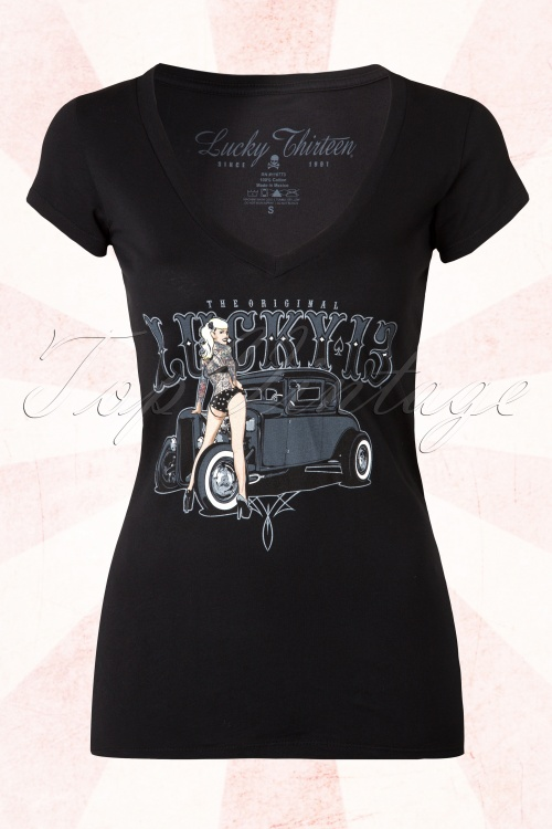 Lucky 13 Black Pin up T Shirt  111 10 15068 20150408 0004W