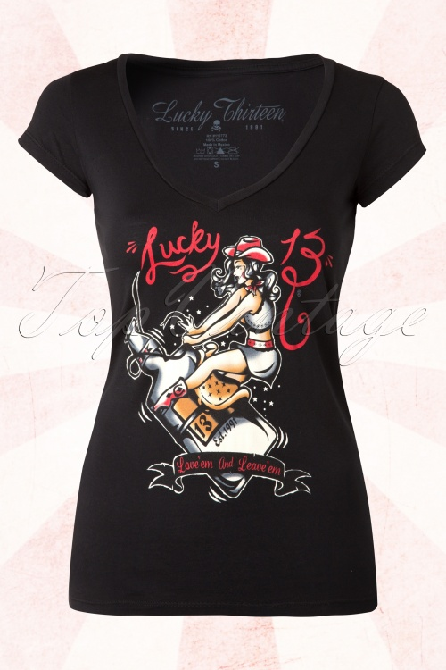 Lucky 13 Giddy up Rockabilly Rockabella T shirt 111 10 15067 20150408 0004W